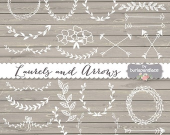 Hand Drawn clipart laurels and arrows, wood, linen, rustic clipart laurels and arrows, digital laurels and arrows, wedding clipart