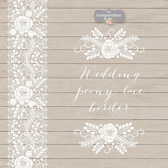 Wedding Invitation Borders Clip Art: Vector Wedding Peony Lace Border Wedding Invitation Border