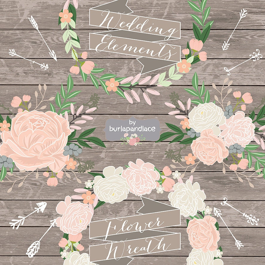 Flower Svg Library Download For Wedding Invitations: Vector Rustic Flower Wedding Invitation Clipart Rustic