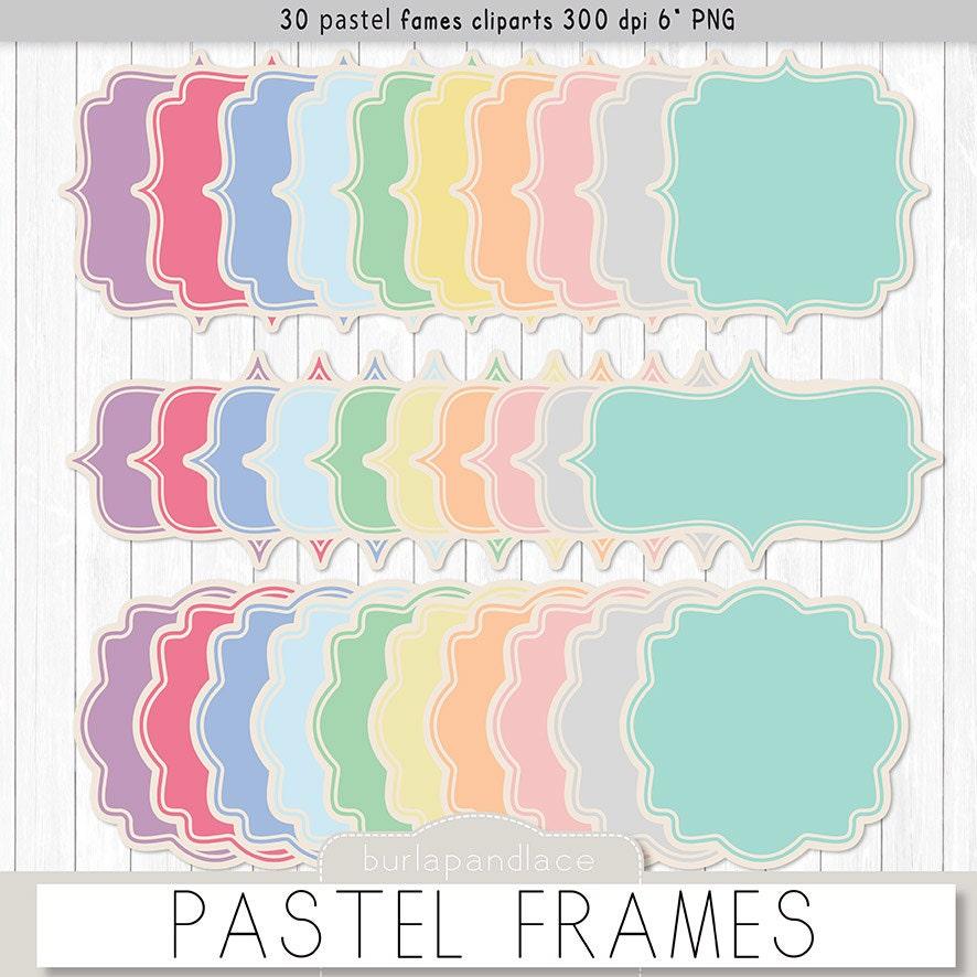 Pastelle Rahmen Cliparts label Aufkleber digitale | Etsy