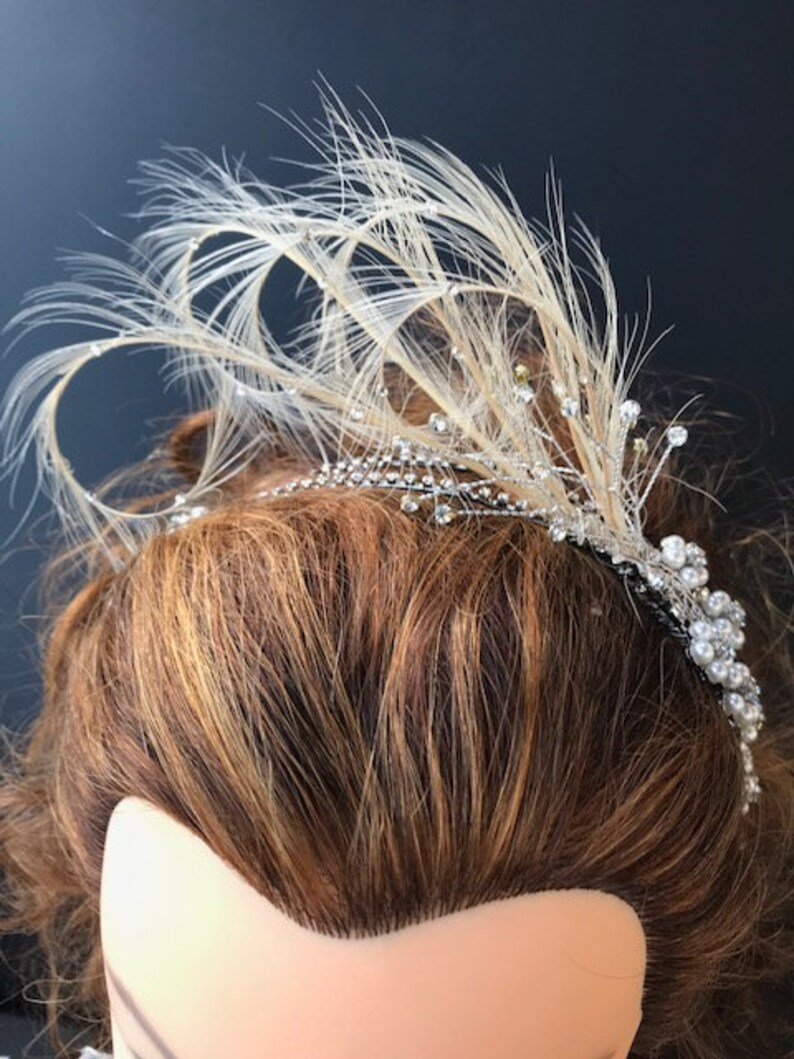 Vintage Style Rhinestone Feather HeadbandFascinator Bridal HeadpieceHairpiece Wedding Headband