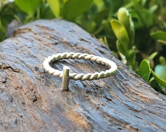 Dainty Minimalist Sterling Silver Rings with Delicate Twisted Rope Pattern Wire Bar