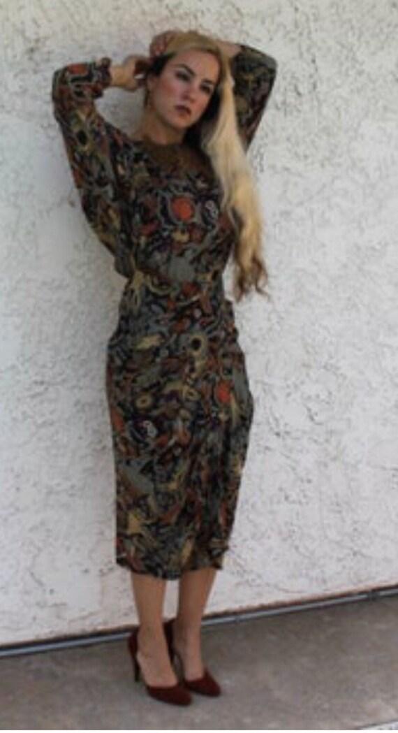Floral print 80's dress