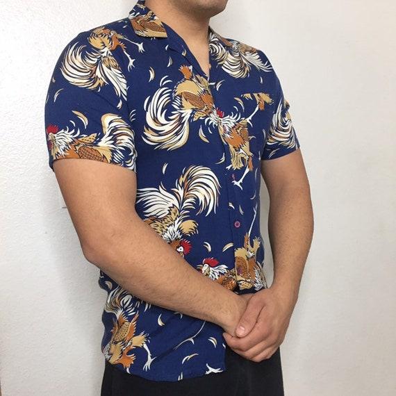 Indigo blue rooster shirt