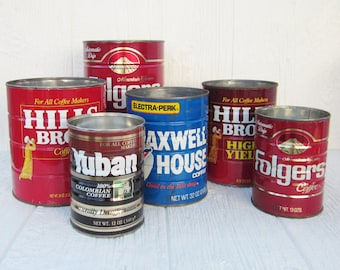 RESERVED Vintage Coffee Cans, Tin Cans, Hills Bros, Folgers, Yuban & Maxwell House, Metal Planters, Collectible Advertising, Coffee Kitche