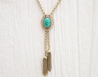 Vintage Lariat Y Necklace, Long Green & Gold Tone Avon Necklace, Boho Style Jewelry, Adjustable
