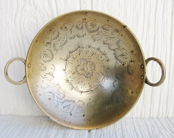 Etched Brass Bowl with Handles, Small Vintage Brass Bowl or Trinket Dish, Boho Decor