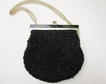 Vintage Beaded Purse, Black Purse with Strap, Antique Handbag Gatsby Style, Evening or Formal Small Purse