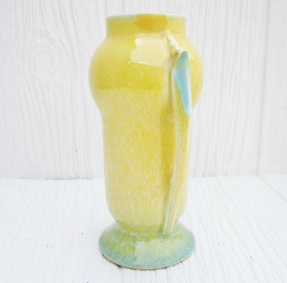Roseville Pottery 1935 Roseville Orian Vase 733 6 Yellow Etsy