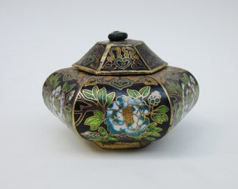 Old Cloisonne Container with Lid, Trinket Box, Jewelry Box, Asian Decor, Decorative Small Metal Container
