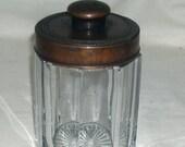 19th Century Heavy Glass Paneled Bronze Cigar Jar Tobacco Humidor Holder