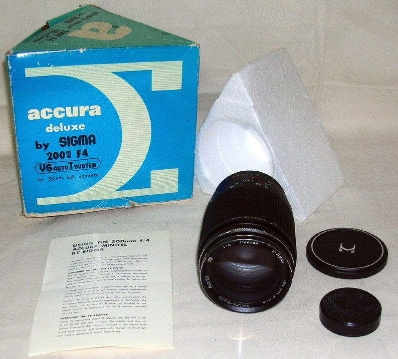 for 35 mm Camera New Old Stock  # mahogany Sigma Accura Deluxe 1:4 f=200 mm Lens
