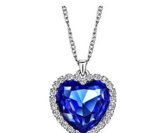 c649abed641f8d Titanic Heart Of The Ocean Sapphire Blue CZ Crystal Necklace Pendant Jewelry
