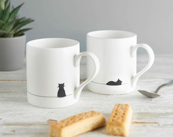 Sitting Cat and Sleeping Cat Mug, Set of Two, Fine Bone China Mugs, Cat Lover Gifts, Boxed, Small Coffee Mugs