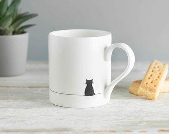 Sitting Cat Mug, Crazy Cat Lover Mug, Cat Lover Gift, Fine Bone China, Gift for Cat Lover, Black Cat Mug, Small Coffee Cup
