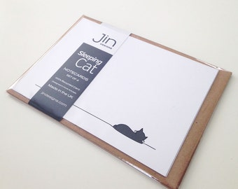 Sleeping Cat Notecards - Set of 4, Cat Postcards, Gift for Cat Lover, Black Cat Cards