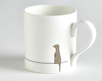 Meerkat Mug, Meerkat Gift, Small Fine Bone China Mug, Stylish and Cute Gift for Meerkat Lovers