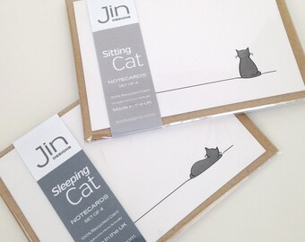 Sitting Cat and Sleeping Cat Notecards, Cat Postcards, Cat Lover Cards