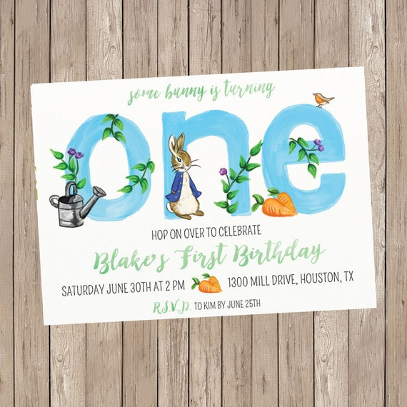 Peter Rabbit First Birthday Invitation Boy Birthday Etsy