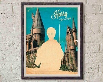 20% OFF!! Harry Potter Movie Poster - Harry Potter Print - silhouette Vintage Style Magazine Retro Print Cinema Studio Watercolor Background