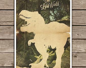 Jurassic Park Movie Poster / Jurassic Park  Print / Vintage Style / Magazine Retro Print / Steven Spielberg / Watercolor Background
