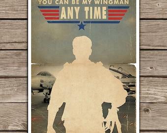 20% OFF!! Top Gun Movie Poster movie silhouette - Vintage Style Magazine Retro Print Cinema Studio Watercolor Background - Pick your Size