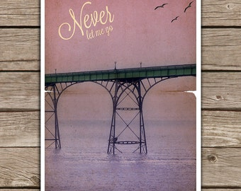 Week Discount ! Never let me go Movie Poster - Print violet - Vintage Style Magazine Retro Print Cinema Studio Watercolor Background