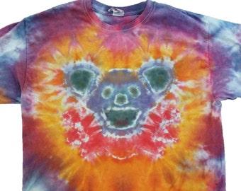 FREE SHIPPING Custom Grateful Dead Purple Red Bear Tie Dye Shirt Deadhead Dancing Bear Short Sleeve - 100% Cotton Handmade
