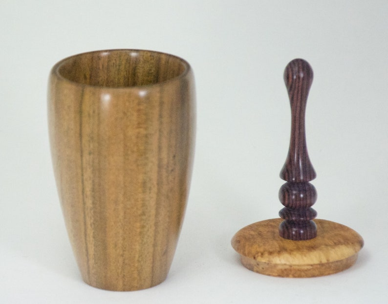 with removable lid of Maidou Burl and Kingwood Rosewood Lidded vessel turned from Canarywood