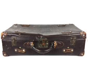 Antique Leather Suitcase 1910s Leather Luggage Briefcase Vintage 1910s Leather Suitcase Old Brown Leather Suitcase Brown Leather Suitcase