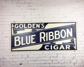 Large Vintage Cigar Sign 1940s Goldens Blue Ribbon Cigar Cardboard Sign Blue and White Sign