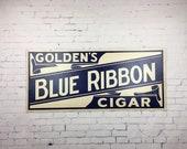 Large Vintage Cigar Sign 1940s Goldens Blue Ribbon Cigar Cardboard Sign Blue and White Sign
