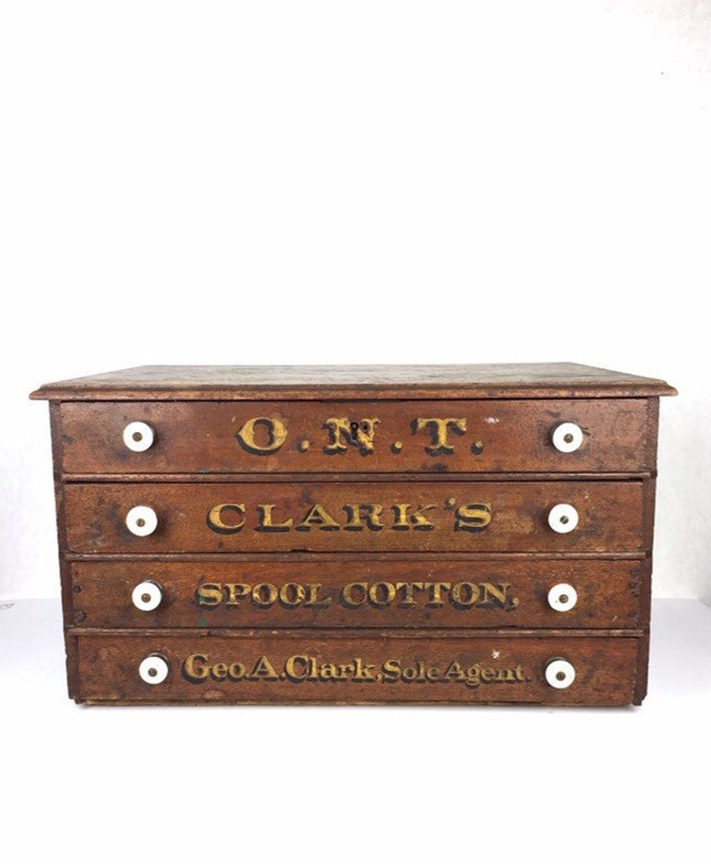 Antique Spool Cabinet 1910s ONT Clarks Spool Cotton Wood Four Drawer Cabinet