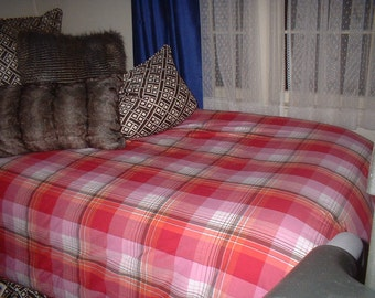 Red Pink Plaid TWIN Duvet Cover 62bace7df