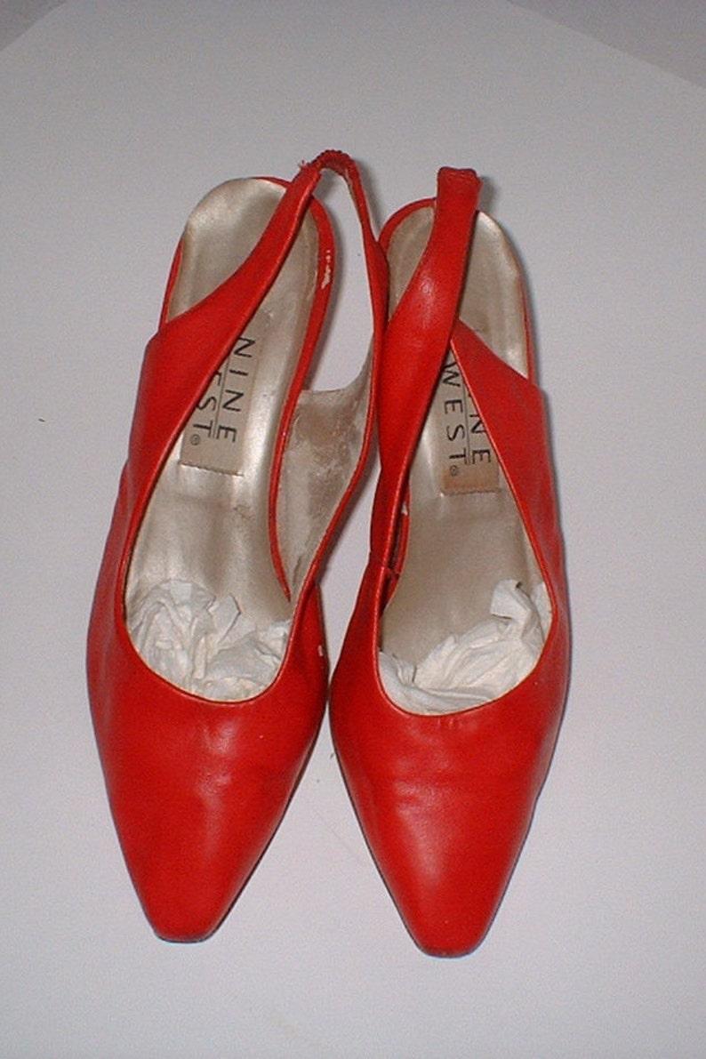 fcb4a8b569 Nine West Red Leather Slingbacks Pumps Heels Shoes Size 7 M | Etsy