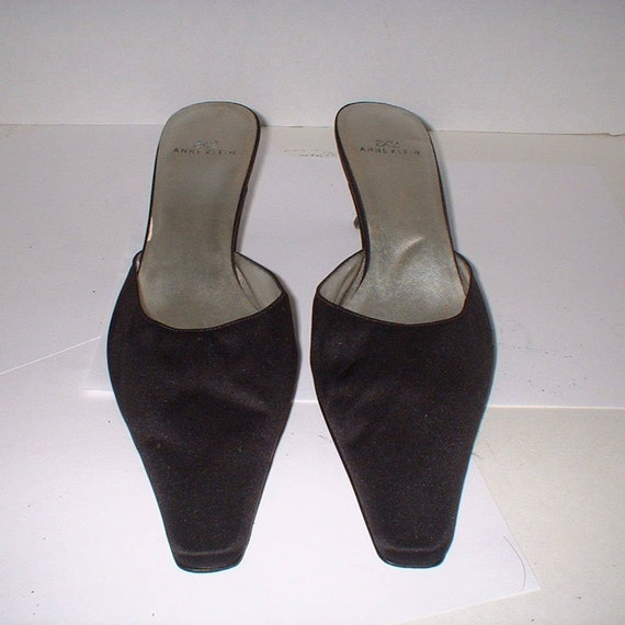 5b18fdf8d8d Ann Klein Pointy Toe Black Kitten Heels Pumps Shoes SILVER