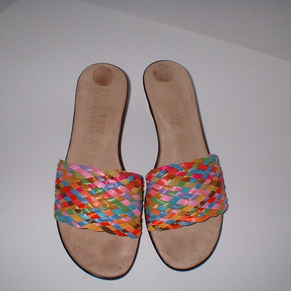 Italian Shoemakers Handmade Wedge Sandals Slipons Shoes Wide Braided Rainbow Strap Size 8 M MINT