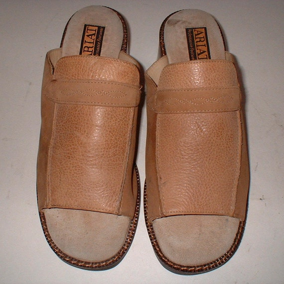 Leather Mules Comfortable Ariat Shoes M Biege Size 7 Slides Exc Tan Reduced Taupe Sandals OPknX8N0w