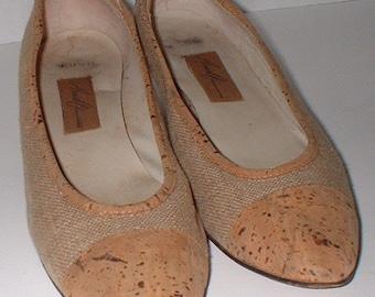 AMALFI Biege Fabric & Cork Italy Pumps Heels Shoes Size * AAA narrow