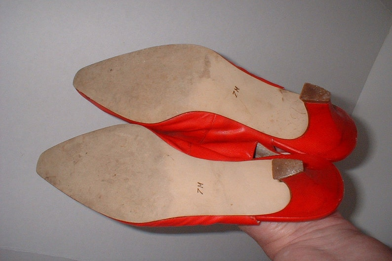 Nine West Red Leather Slingbacks Pumps Heels Shoes Size 7 M