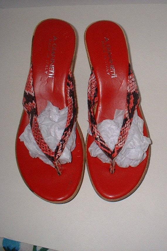 0fce47237f1a SALE A. Giannetti Red Snakeskin Wedge Flip Flips Shoes Size 8