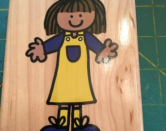 Scrapbook Rubber Stamp Gently Used.  Little Girl From Hero Arts Stamps Wood Block Stamp With Rubber Character