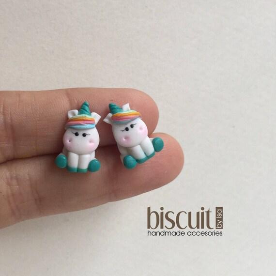 nuevo producto 14c73 a36b9 Zarcillos, aretes • Unicornio • Kawaii • Porcelana fria, clay