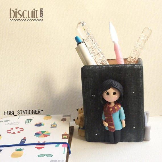 Porta lápices • Papelería • Mini personalizado • Kawaii • Porcelana fria, clay