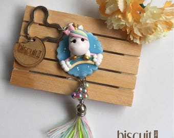 Keychain • Unicorn rainbow • Kawaii • Cold porcelain, clay