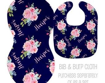 blue baby shower gift,boy bib,girl burp cloth,baby set,baby shower,christmas gift Blue Rose bib and burp cloth set newborn baby gift