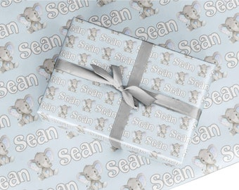 Personalized Elephant Wrapping Paper For Baby Shower