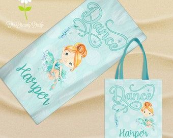 PERSONALISED BALLET DANCER TOWEL SET CHRISTMAS GIFT HAND TOWEL AND FACE CLOTH