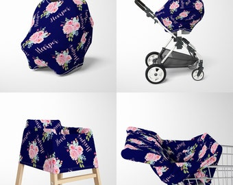 Personalized Baby Car Seat Canopy Cover Custom Name Floral Car Seat Cover With Peonies Mom Nursing Wrap Breastfeeding Privacy Cover