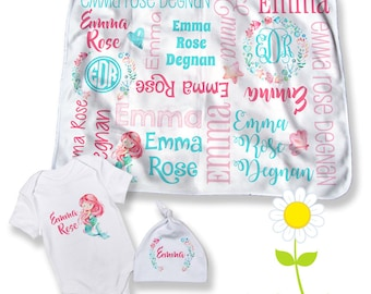 Mermaid Personalized Baby Blanket - Optional Bodysuit   Hat - Custom Name  Mermaid Swaddle - Baby Shower Gift - Newborn Coming Home Outfit 8cbcdab12e60
